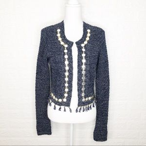 Elie Tahari Heavy Blue Tweed Open Cardigan
